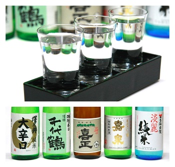 西多摩ならでは、「利き酒セット」(780円)。西多摩五蔵の銘酒ー澤乃井、千代鶴、喜正、嘉泉、多満自慢—のなかから3つを選んで、利き酒ができちゃうという秀逸なメニュー