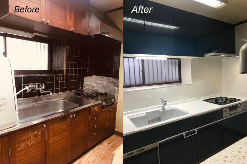 キッチンのリフォーム例。Before&After。確かな技術に信頼は高い